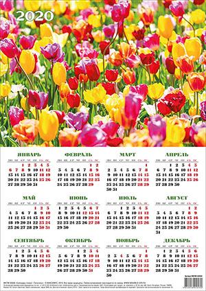 КАЛЕНДАРЬ-ПЛАКАТ на 2020 год  «Тюльпаны»